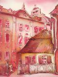Painting city street romantic light in pink. Royalty Free Stock Image