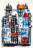 Abstract painting of city buildings stock photo
