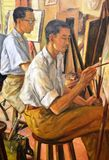 Painting Classes, Oil on Canvas by Lim Yew Kuan Stock Photography