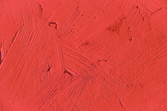 Painting close up of vivid red color. Paint brush strokes  texture for interesting, creative, imaginative backgrounds. For web and design Stock Photo