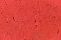 Painting close up of vivid red color. Paint brush strokes  texture for interesting, creative, imaginative backgrounds. For web and design Stock Photos