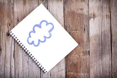 Painting of cloud on notebook Stock Image