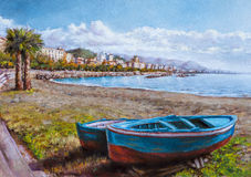 Painting of a coastal landscape Stock Photography