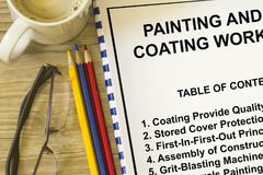 Painting and coating works. Many uses in the construction industry Royalty Free Stock Images