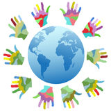 Painting color hands around the world Stock Image