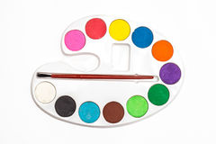 Painting color palette, with a variety of colors Stock Photo