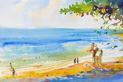 Painting colorful of beach and family in emotion cloud backgrou. Watercolor original seascape painting colorful of family on the beach and summer holiday, happy stock illustration