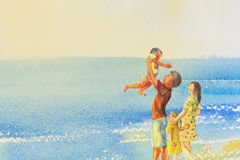 Painting colorful of beach and family in emotion cloud backgrou. Watercolor original seascape painting colorful of family on the beach and summer holiday, happy royalty free stock image