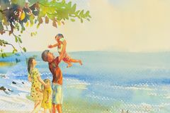 Painting colorful of beach and family in emotion cloud background. Watercolor original seascape painting colorful of family on the beach and summer holiday vector illustration