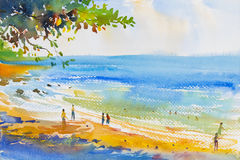 Painting colorful of beach and  sand Stock Photos