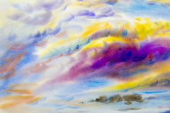 Painting  colorful of beauty in nature with cloud sky Stock Photography