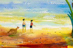 Painting colorful of  boy, girl and dog walking at the beach Royalty Free Stock Photography