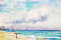 Painting colorful of Boy walks on sand, sea view,beach. Watercolor seascape  original  painting colorful of Boy walks on sand, sea view,beach and sky cloud in Royalty Free Stock Image
