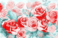 Painting  colorful bunch of roses in the garden. Illustration painted spring flowers colorful bunch of roses in the garden and emotion in realistic,pink rose Stock Image