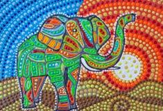Painting, colorful elephant safari. At sunset. stock photo