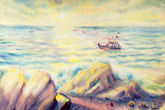 Painting colorful of fisherman fishing boat in sun evening. Watercolor seascape original painting colorful of fisherman fishing boat in sun evening and emotion Stock Images