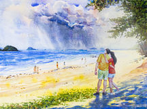 Painting colorful of  Men and women couples with rain clouds. Stock Photography