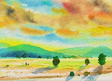 Painting colorful of mountain and meadows in morning sunlight. Watercolor landscape original painting colorful of mountain and meadows in morning sunlight,sky Royalty Free Stock Image