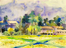Painting colorful of mountain and rice field with wooden house. Watercolor landscape original painting colorful of mountain and rice field with wooden house in Stock Photography