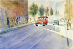 Painting colorful of small red bus on tha phae road. Royalty Free Stock Images