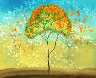 Painting of colorful tree. Painting of a tree with falling leaves in a windy morning vector illustration