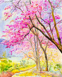 Painting colorful of  Wild himalayan cherry on  mountain Stock Image