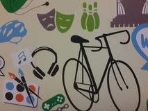Painting on the wall. Colors bicycle  wall wallpaper background music  game earpiece Royalty Free Stock Photo