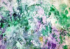 Colors, wet green purple painting spots background, paint and water Stock Images