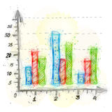 Painting of column bar chart with watercolor effect Royalty Free Stock Image