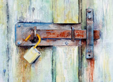A painting of a corroded lock. A watercolour painting of a corroded lock, with decayed woodwork stock illustration