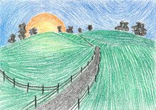 Painting Country road at sunset Stock Images