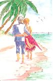 Painting of couple on beach. Very detailed watercolor (watercolour, aquarelle) artwork of an older couple walking on the sand by the water.  Would make a Royalty Free Stock Photo