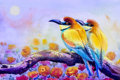 Painting of couple bird on a branch amidst beautiful roses. Watercolor landscape original painting on paper colorful of couple bird on a branch amidst beautiful Royalty Free Stock Photography