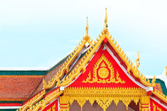 Painting craved front and top roof of budda temple Royalty Free Stock Photography
