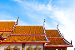Painting craved top roof of budda temple building Stock Image