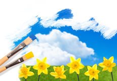 Painting Daffodils Royalty Free Stock Photography