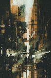 Painting of Dark narrow alley. Narrow alley,illustration digital painting Royalty Free Stock Images