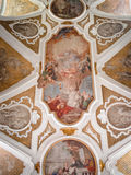 Painting decorated ceiling of an ancient Christian church. Stock Image