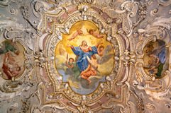 Painting decorated ceiling of an ancient Christian church. Royalty Free Stock Images