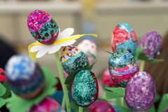 Painting and decorating easter eggs. Easter eggs painting and decoration stock photography