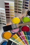 Painting and Decorating - Test Pots - Color Charts Stock Photos
