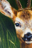 Painting deer on canvas, and grass background. Royalty Free Stock Photo