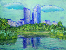 Painting of the departmental park Andre Malraux Royalty Free Stock Photos