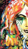 Painting detail with woman's eye. And abstract rainbow painted background Royalty Free Stock Photos