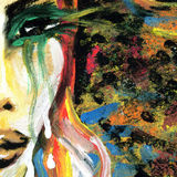 Painting detail with woman's eye. And abstract rainbow painted background Stock Images