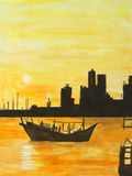 Painting of dhow moving out to the sea at sunset Stock Photos