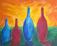 Painting of different sized bottles. Painting of four different sized bottles with reflection and bright sky Royalty Free Stock Photos