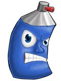 Painting digital color spray cartoon heartless face blue Stock Image