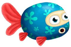 Painting digital goldfish blue. Digital drawing and painting with a mouse Stock Photos