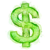 Painting of dollar symbol with watercolor effect Royalty Free Stock Images